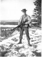 Pvt Dewoody on bluff Copper River, Dry Creek, Alaska, April1, 1943,