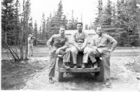 Lt. Mattera, Capt Moore, Capt Childress, Dry Creeik, Alaska, May 1943.
