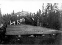 Quonset Hut under construction, Dry Creek, Alaska, Sept 1942.