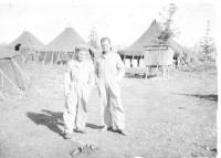 SSgt Mitchell & First Sgt Kelly, Dry Creek, Alaska, Aug. 1942.