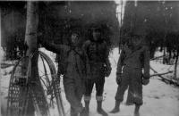 Cpl Ballieu, USED Fieldclerk F. M. Perry, & Pvt Dewoody on snowshoe hike near Dry Creek, Alaska, Mar 1943.