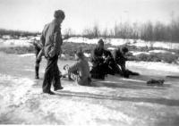 Skating Party on pond, Dry Creek, Alaska, 1943.