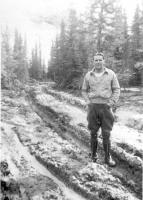 Cpl Bourg on Company Main St., Dry Creek, Alaska, April  1943.