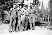Cpl. Bourg, Cpl. Wall, SSgt. Gowan, First Sgt. Yarter, Dry Creek, Alaska, May, 1943.