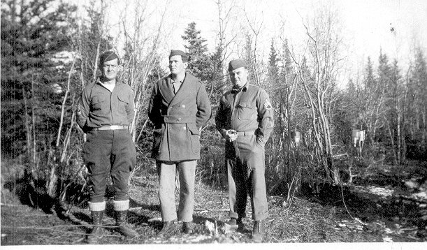 First Sgt. Kelly, Lt. Jackson, S.Sgt Mitchell, Dry Creek, Alaska,Sept. 1942.