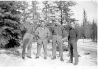 Lt. Mattera, SSgt. Hatchel, Sgt. Lovell, First Sgt. Yarter, Dry Creek, Alaska, April, 1943.