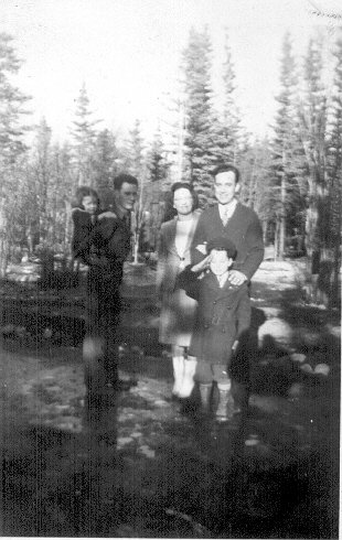 L to R Becky Jean Joy, First Sgt Yarter, Mr. & Mrs Vince Joy, Jimmy Joy, April 1943 at Copper Center, Alaska.