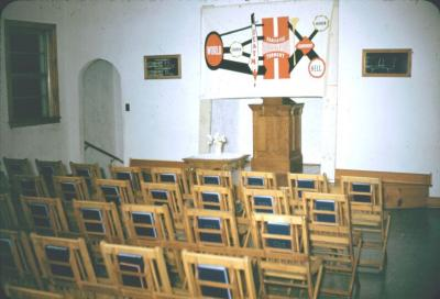Interior of the church. Look at that chart.