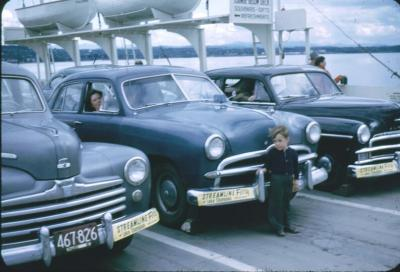 Joe aboard Lake Champlain ferry September 1952. Vermont shore in background.