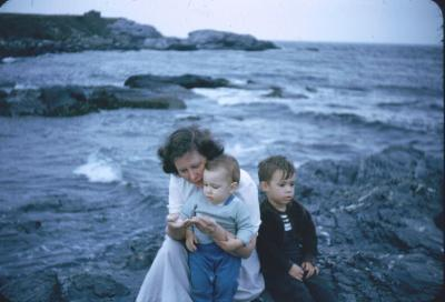 Charlotte, Charlie and Joe on seashore Newport, R.I. Sept 1952.
