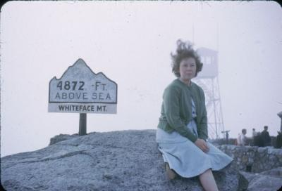 Charlotte at summit Whiteface Mt. Adirondacks Aug 31, 1952.