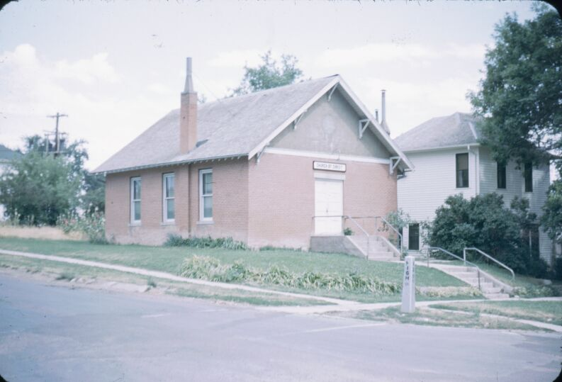 Old Church of Christ building. Boulder July 1952.
