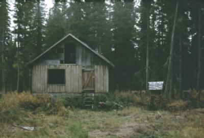 Another view of deserted cabin shell with food storage cache, 1980.