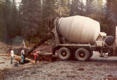 Preparing foundation for transmitter building, 1982.