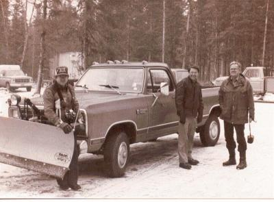______, Pat MacMahon, and Dick Perkins delivering new Dodge pickup to KNLS, 1982.