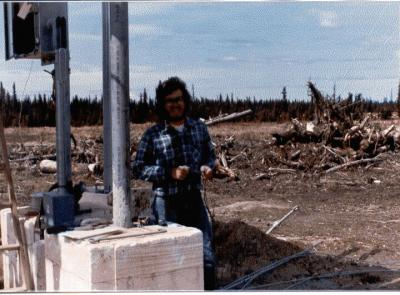 Steve Lockwood came from Oklahoma to assist in KNLS construction, 1982.