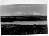 Mt. Sanford (16,000 ft) & Mt Drum (12,000 ft) Copper River in foreground