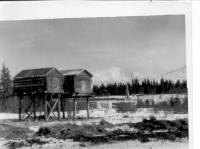 Indian Cache Cabins, Graveyard, Mt. Sanford in back, 1942