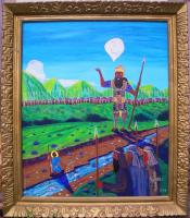 Robert Roberg's David and Goliath. Painted 1994. Size 24 by 28 inches.